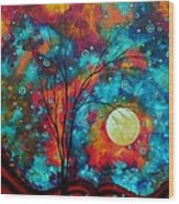 Huge Colorful Abstract Landscape Art Circles Tree Original Painting Delightful By Madart Wood Print