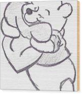 Huggable Pooh Bear Wood Print by Melissa Vijay Bharwani