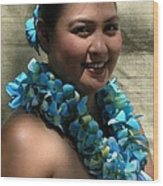 Hula Blue Wood Print