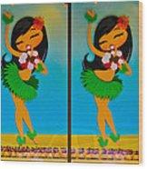 Hula Girls Wood Print