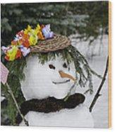 Hula Snowlady Wood Print