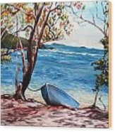 Hull Bay Boat Wood Print