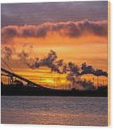 Humboldt Bay Industry At Sunset Wood Print