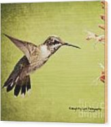 Humming Bird In Flight Wood Print