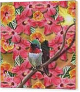 Hummingbird And Hibiscus Wood Print