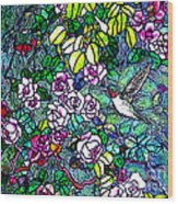 Hummingbird Tiffany Style Wood Print
