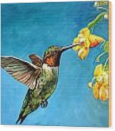 Hummingbird With Yellow Flowers Wood Print