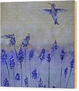 Hummingbirds Among Larkspur Wood Print