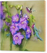 Hummingbirds Butterflies And Flowers Wood Print