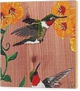 Hummingbirds On Cedar Wood Print
