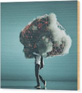Humorous mobile cloud computing conceptual image Wood Print