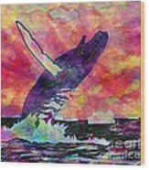 Humpback Whale Digital Color Wood Print