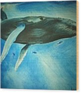 Humpback Whale Wood Print by Lucy D