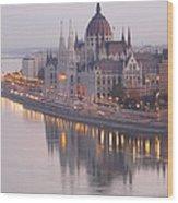 Hungarian Parliament At Sunrise Wood Print