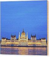 Hungarian Parliament Building At Dusk Wood Print