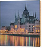 Hungarian Parliament Dawn Wood Print