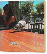 Hungry Pigeon At Mcdonalds Wood Print