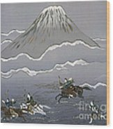 Hunt At Mount Fuji Wood Print