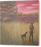 Hunter And Pointer Wood Print