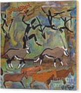 Hunters And Gemsbok Rock Art Wood Print