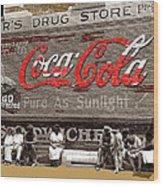 Hunter's Drug Store Coca-cola Mural Greensboro Georgia Marion Post Wolcott Fsa Spring 1939-2014  Wood Print