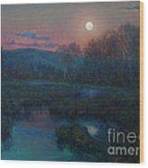 Hunter's Moon Rising Wood Print