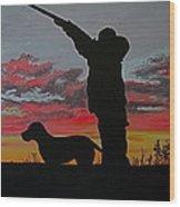 Hunting At Sunset Wood Print