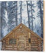 Hunting Cabin In Alberta Wood Print