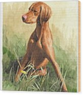 Hunting Dog Puppy Watercolor Portrait Wood Print