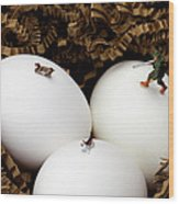 Hunting In Nest Little People On Food Wood Print