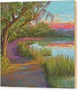 Hunting Island Sunset Wood Print