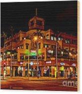 Huntington Beach Downtown Nightside 1 Wood Print