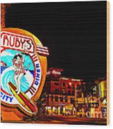 Huntington Beach Downtown Nightside 2 Wood Print by Jim Carrell