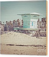 Huntington Beach Lifeguard Tower #5 Retro Picture Wood Print