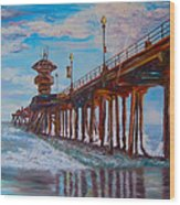 Huntington Beach Pier 2 Wood Print