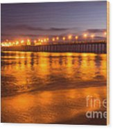 Huntington Beach Pier At Night Wood Print