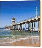 Huntington Beach Pier In Southern California Wood Print by Paul Velgos