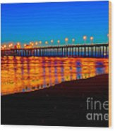 Huntington Beach Pier - Nightside Wood Print