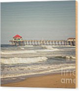 Huntington Beach Pier Retro Toned Photo Wood Print by Paul Velgos