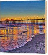 Huntington Beach Pier Sundown Wood Print