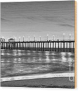 Huntington Beach Pier Twilight - Black And White Wood Print