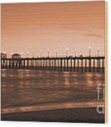 Huntington Beach Pier - Twilight Sepia Wood Print by Jim Carrell