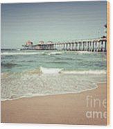 Huntington Beach Pier Vintage Toned Photo Wood Print by Paul Velgos