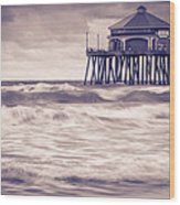 Huntington Beach Retro Wood Print