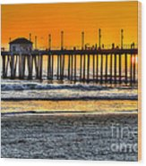 Huntington Beach Sunset Wood Print by Jim Carrell