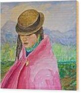 Huri The Andean Girl Wood Print