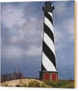 Hurricane Coming At Cape Hatteras Lighthouse Wood Print