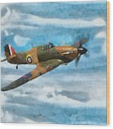 Hurricane Fighter Watercolour Wood Print