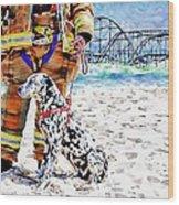 Hurricane Sandy Fireman And Dog  Wood Print