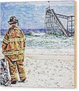 Hurricane Sandy Fireman Wood Print